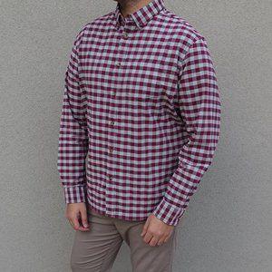 Old Navy Maroon Gray Check Long Sleeve Shirt